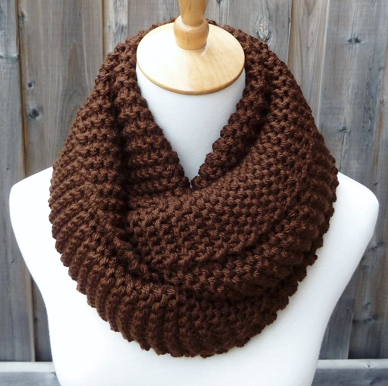 89f609f01e9f6 Chocolate Brown Infinity Scarf Dark Brown Infinity Scarf | Etsy