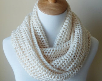 Off White Infinity Scarf - Cream Infinity Scarf - Circle Scarf - Ready to Ship
