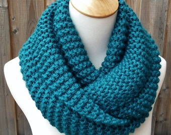 Teal Infinity Scarf - Dark Teal Scarf - Chunky Knit Scarf - Circle Scarf - Ready to Ship