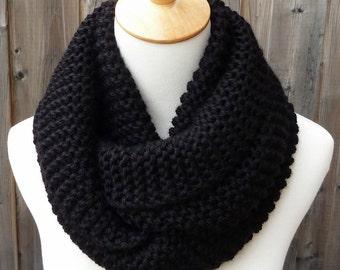Black Infinity Scarf - Soft Infinity Scarf - Chunky Knit Scarf - Circle Scarf - Ready to Ship