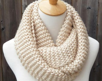 Cream Infinity Scarf - Off White Infinity Scarf - Chunky Knit Scarf - Ready to Ship
