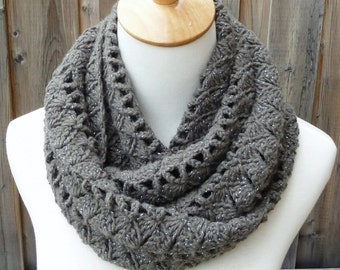 Pewter Infinity Scarf - Gray Infinity Scarf - Crochet Infinity Scarf - Circle Scarf - Ready to Ship