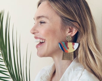 Statement gold leather earrings with multicolored silk / Bold earrings / Statement jewelry / Gauguin inspired piece