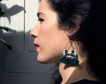 SALE / Tassel earrings with semi precious stones and golden tigers for women
