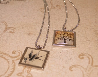 Tree of Life and Sparrow Charm Necklaces