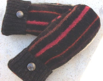 Alpaca Sweater MittensBlack With Raspberry Rust and White StripesWashableFleece LinedWarmer than WoolSize M AdultFashion Metal Button