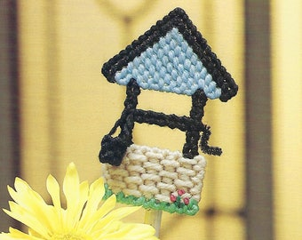 Wishing Well Plastic Canvas Pattern, Plant Poke, Home Garden Decor, Bucket, The Needlecraft Shop