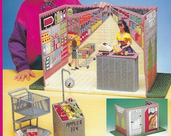 Fashion Doll Carry & Play Grocery Store Plastic Canvas Pattern Book, Shopping Cart, Price Scanner, Produce Stand, Cash Register, Play Food