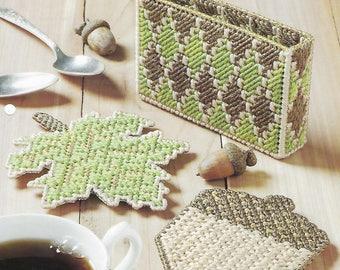 Golden Accent Coasters Plastic Canvas Pattern, Table Decor, Coaster, Leaf, Acorn, Coaster Holder, Fall Kitchen Decor, The Needlecraft Shop