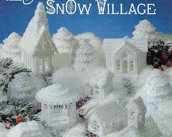 Snow Village Plastic Canvas Pattern Book, Christmas Decor, Fir Trees, Schoolhouse, Chapel, Winter Cottage, Bungalow, Bandstand, Manor House