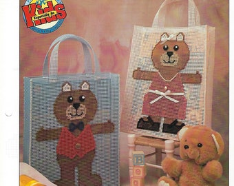 Bear Tote Bags Plastic Canvas Pattern, Baby Tote, Child's Bag, Teddy Bear, Baby Shower Gift, Annie's
