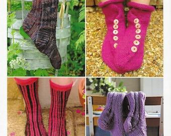 Knitted Socks Knitting Pattern Book, Knee-Highs, Slouch, Boot Socks, City Stripes, Accessories, Men's & Women's Socks