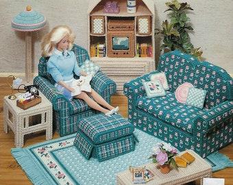 Fashion Doll Bathroom Plastic Canvas Pattern American