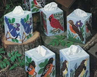 Plastic Canvas Tissue Box Cover Pattern Songbird Boutiques - Leisure Arts #1352, Home Decor, Bird Tissue Box Covers,Cardinal, Blue Jay