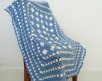 Crochet Baby Blanket Afghan, Blue, White, Granny Squares, Baby Boy, Shower Gift, Bedding, Nursery Decor, Crib