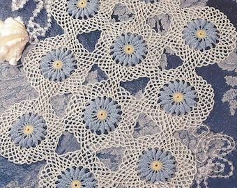 Elegant Floral Centerpiece Crochet Doily Pattern, Home Decor, Table Topper, Motif Doily, Spring Summer Decor, Kitchen Decor, Flower Doily
