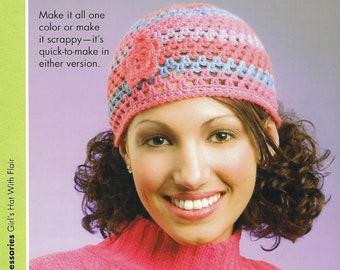 Girls' Hat With Flair Crochet Pattern, Women's Accessories, Cloche, Gift For Her, Annie's Scrap Crochet