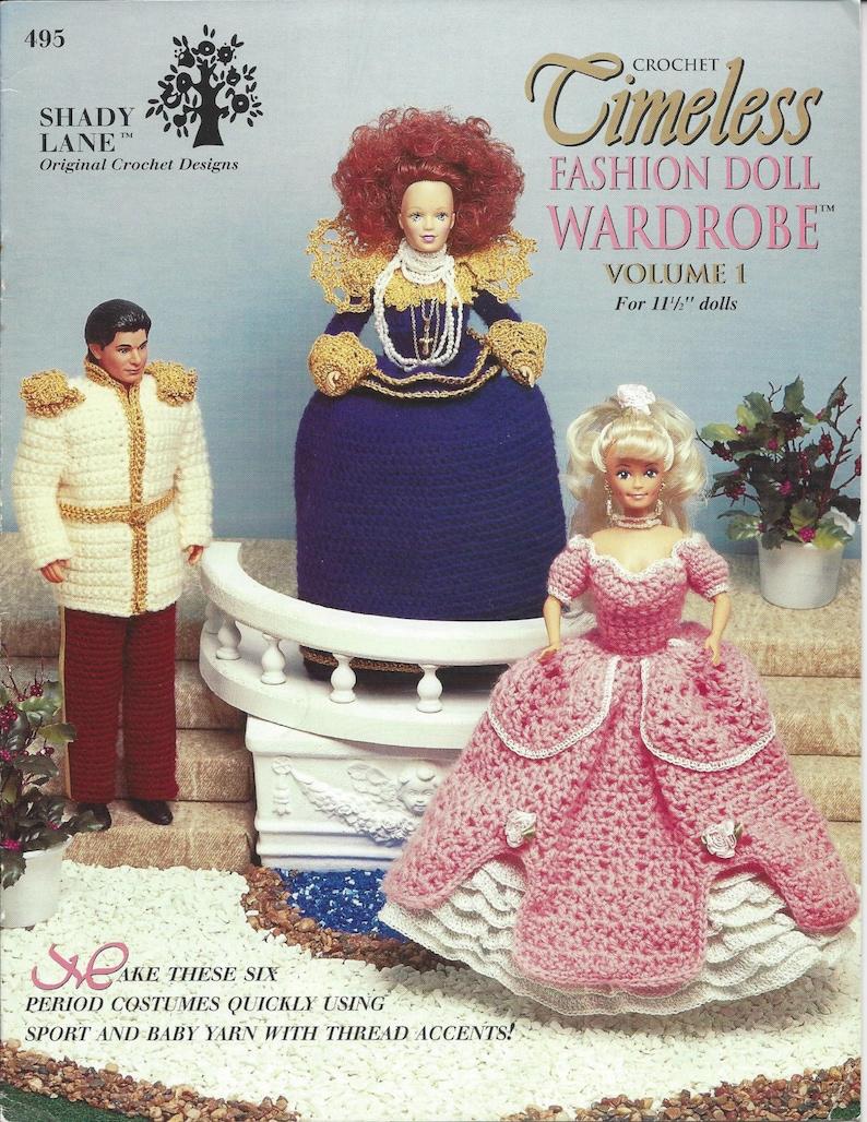 Fashion Doll Dress Shawl Purse Cape Prince Crochet Pattern Timeless Fashion Doll Wardrobe Vol 1 Pilgrim Cinderella Shady Lane