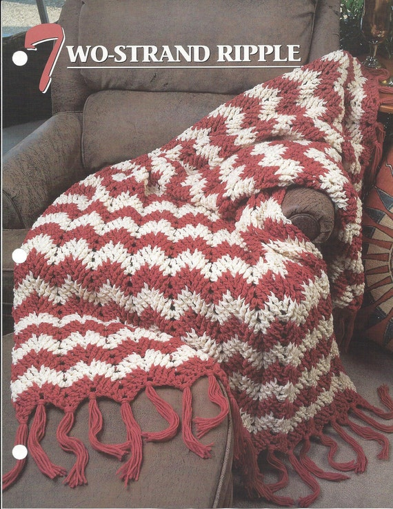 Two Strand Ripple Crochet Afghan Blanket Pattern Chevron Etsy