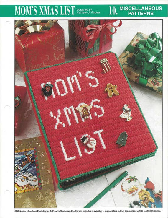 moms xmas list plastic canvas pattern binder cover album cover christmas binder holiday accessories annies international from knitknackscreations on