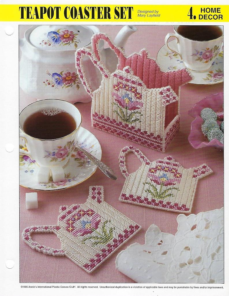 Teapot Set ~ Kitchen Accessories Annie/'s plastic canvas pattern leaflets