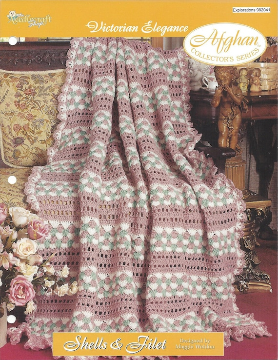 Crochet Filet Shell Victorian Afghan Pattern Home Decor Etsy