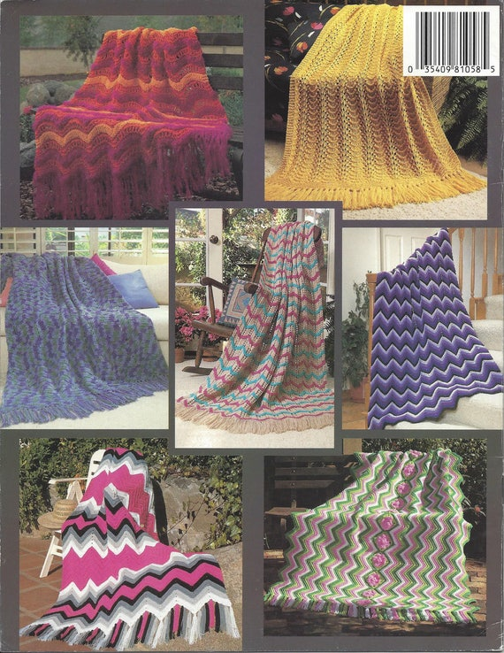 New Ripple Afghans Crochet Knit Pattern Book Home Decor Etsy
