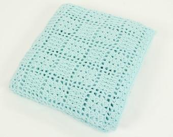 Crochet Baby Blanket Afghan In Aqua, Nursery Decor, Crib Bedding, Lace Design, Baby Shower Gift, Baby Boy, Lap Blanket