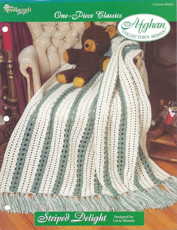 One-Piece Classics crochet pattern leaflet Garden Stripes Afghan