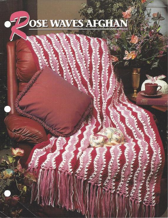 Pattern Afghan Blanket Crochet Rose Waves Afghan Annies Etsy