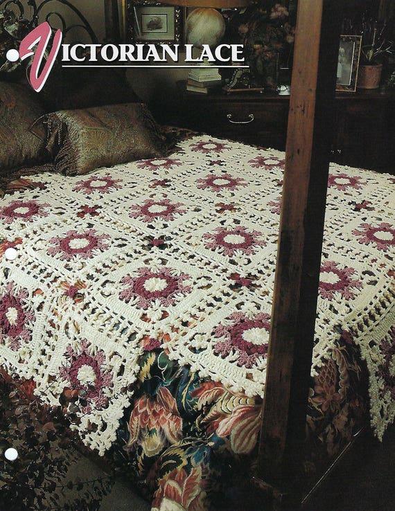 Victorian Lace Crochet Afghan Blanket Pattern Motif Granny Etsy