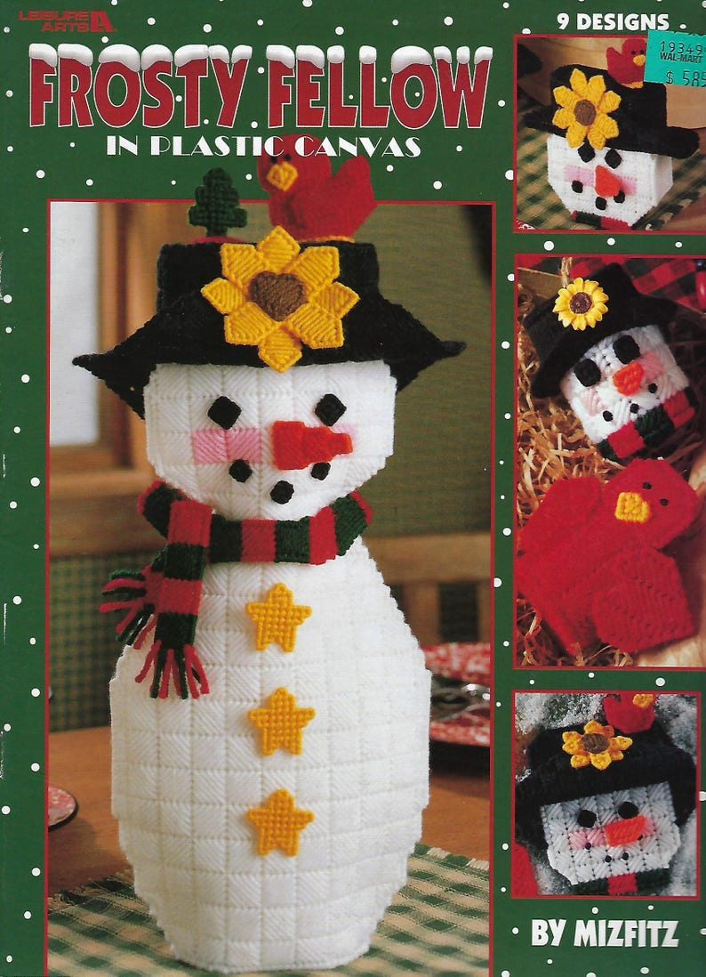 Tissue Box Cover Frosty Fellow Plastic Canvas Pattern Book Card Holder Ornaments Snowman Coasters Magnet Table Decor Door Hanger