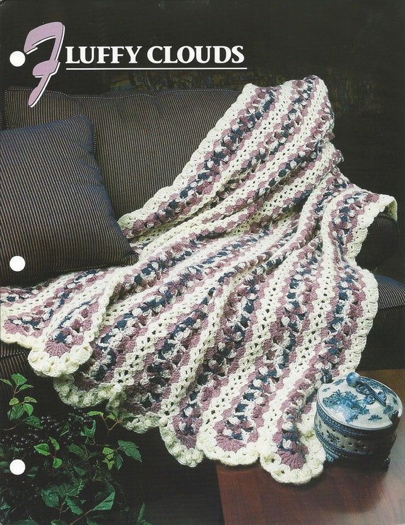 Crochet Pattern Afghan Blanket Fluffy Clouds Mile A Minute Etsy