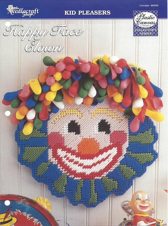 Birthday Babys Room Kids Room Plastic Canvas Pattern Happy Face Clown Home Decor Wall Decor Wall Hanging