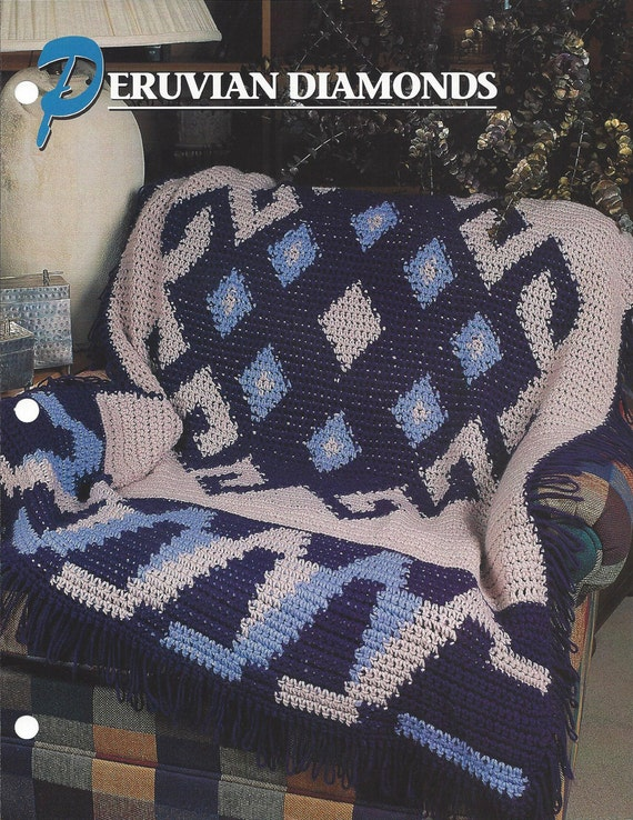Peruvian Diamonds Annies Crochet Quilt Afghan Etsy
