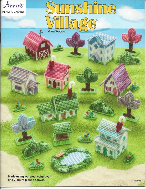 Sunshine Village Plastic Canvas Pattern Book Country Barn Etsy Best Plastic Canvas Pattern Books