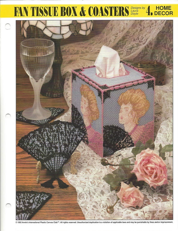 Victorian Roses Tissue Box Cover Plastic Canvas PATTERN//INSTRUCTIONS//NEW