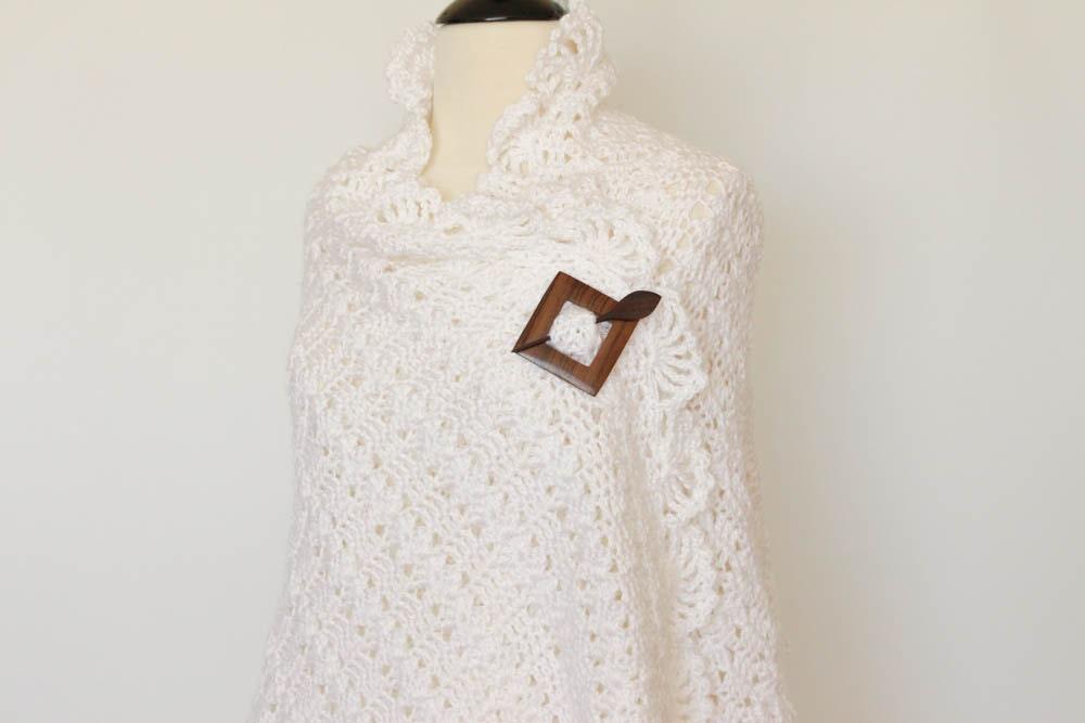 Crochet chal bufanda abrigo blanco manto de oración de la | Etsy