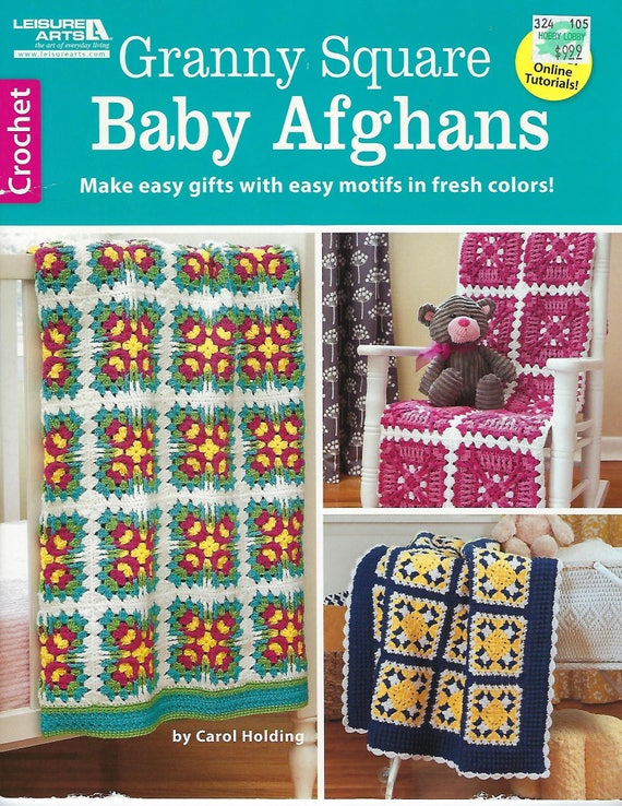 Granny Square Baby Afghans Crochet Pattern Book Crib Bedding Etsy