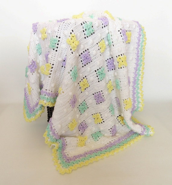 Crochet Baby Blanket Afghan Flower White Purple Green | Etsy
