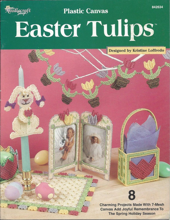 Table Mat Frame Mini Bag Garland Tissue Box Cover Plastic Canvas Pattern Easter Tulips Canndle Bunny Door Wall Hanging Bowl