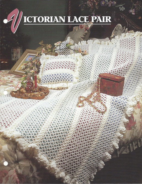 Victorian Lace Pair Crochet Afghan Blanket Pattern Victorian Etsy