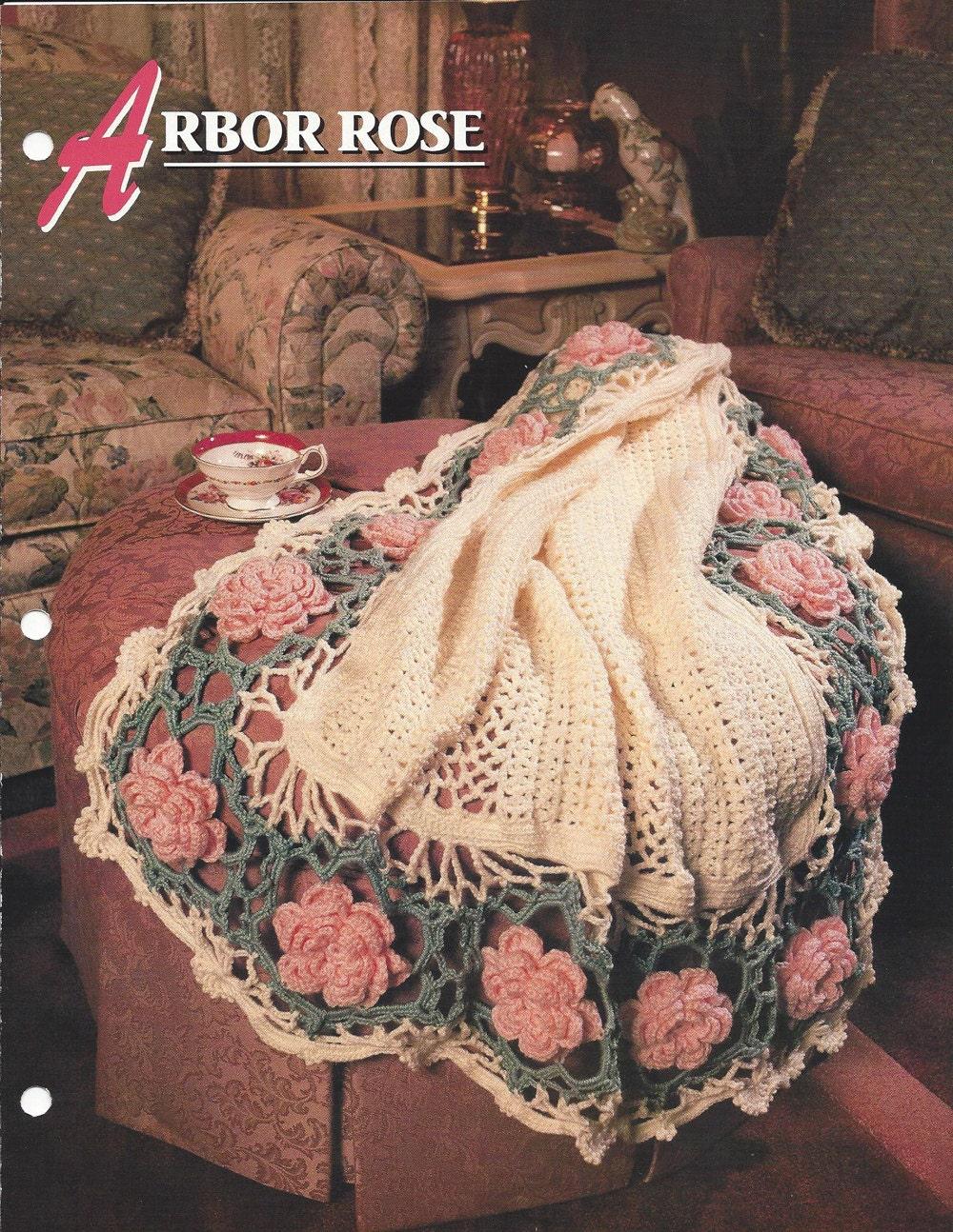 Arbor Rose Afghan Pattern Annies Crochet Quilt Etsy