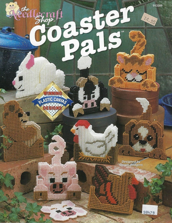 Plastic Canvas Pattern Coater Pals Bear Bunny Hen Cow