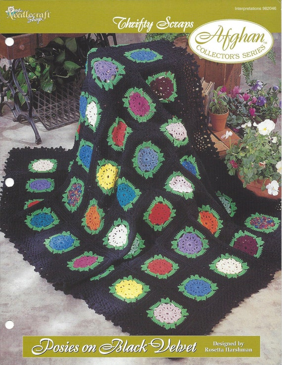 Crochet Flower Scrap Afghan Pattern Home Decor Heirloom Etsy