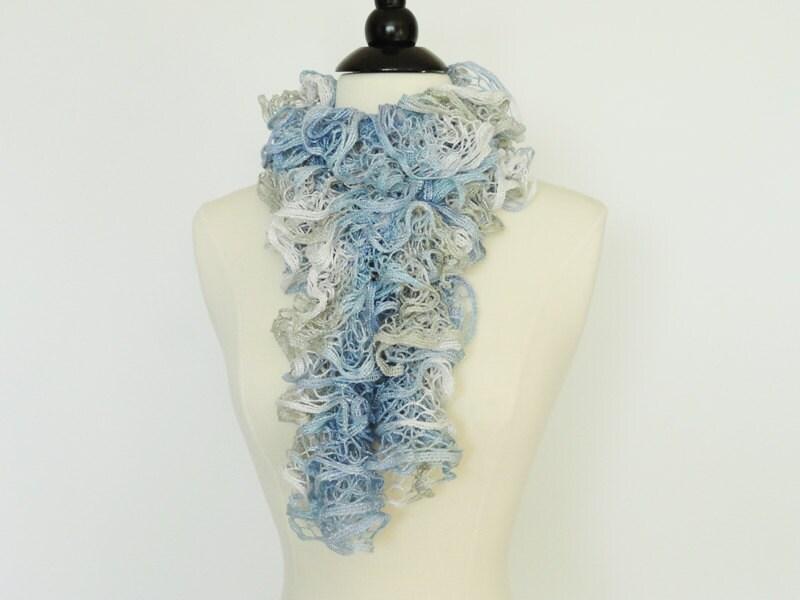 Colmena de mano moda Knit bufanda azul plata blanco chicas | Etsy
