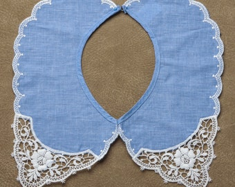 Chambray and Lace Collar Detachable Cotton Polyester Vintage New