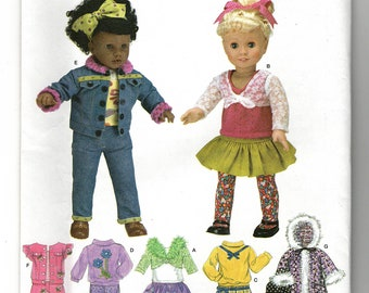 Boots Doll Clothes /& Accessories Jacket Vest Home Sewing Shorts Hat From 2001 Bag Shirt McCall/'s 6480 Pattern for 18 In Skirt