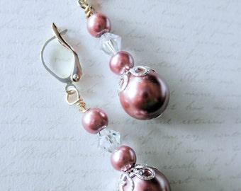 Brown Pearl and Crystal Dangle Earrings