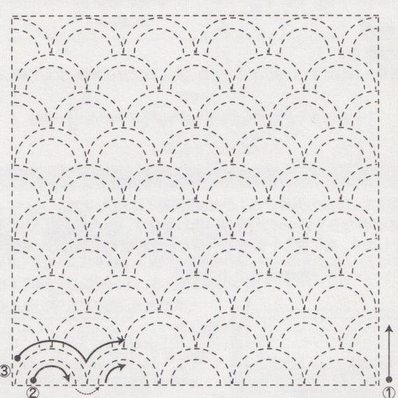 Sashiko Embroidery Kit Olympus Sashiko Embroidery Pattern Etsy